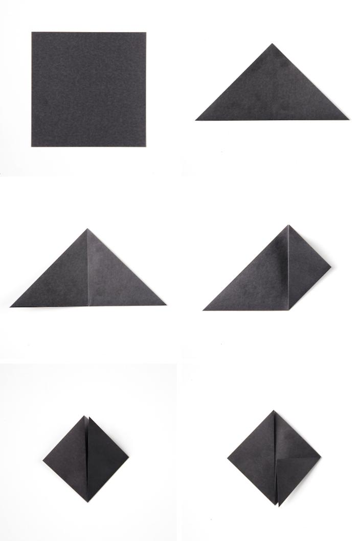 eine schritt für schritt anleitung, eine schwarze origami fledermaus aus einem schwarzen papier und mit schwarzen flügeln, basteln mit papier