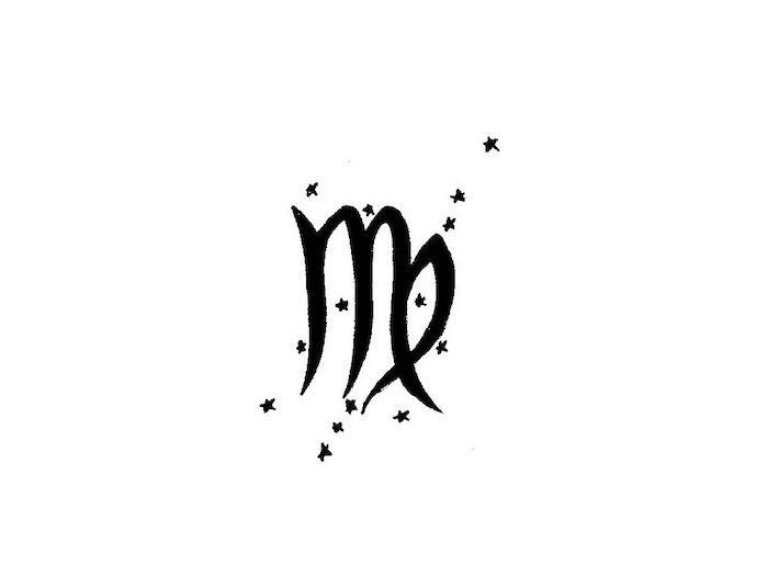 ein kleines und feines tattoo für die elegante virgo damen das symbol von virgo und die sterne die das sternbild formen