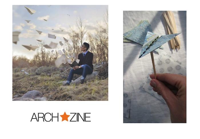 eine hand mit einem diy kleinen papierflieger aus der weltkarte, ein mann mit brille und uhr, blauer himmel und viele fliegende weiße papierflieger