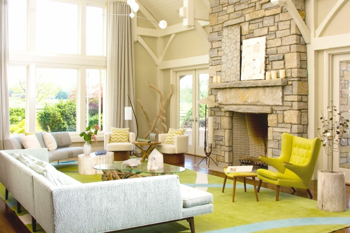 Steinwand selber bauen in einem gemütlichen Wohnzimmer in Shabby Chic Stil