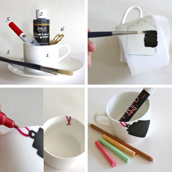 Weiße Porzellantasse selbst bemalen, Anhänger mit Porzellanfarbe aufzeichnen und beschriften