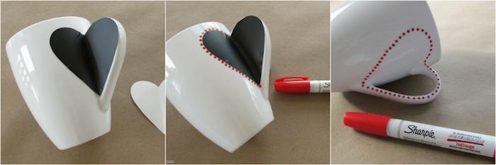 Einen Herz-Aufkleber auf eine weiße Porzellantasse aufkleben, mit roten Punkten markieren