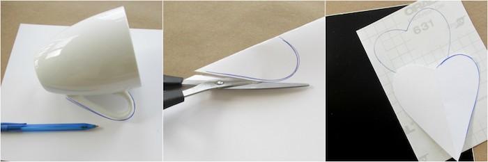 Weiße Porzellantassen mit Herzen selbst gestalten, Schablone aus Papier ausschneiden und auf Aufkleber übertragen
