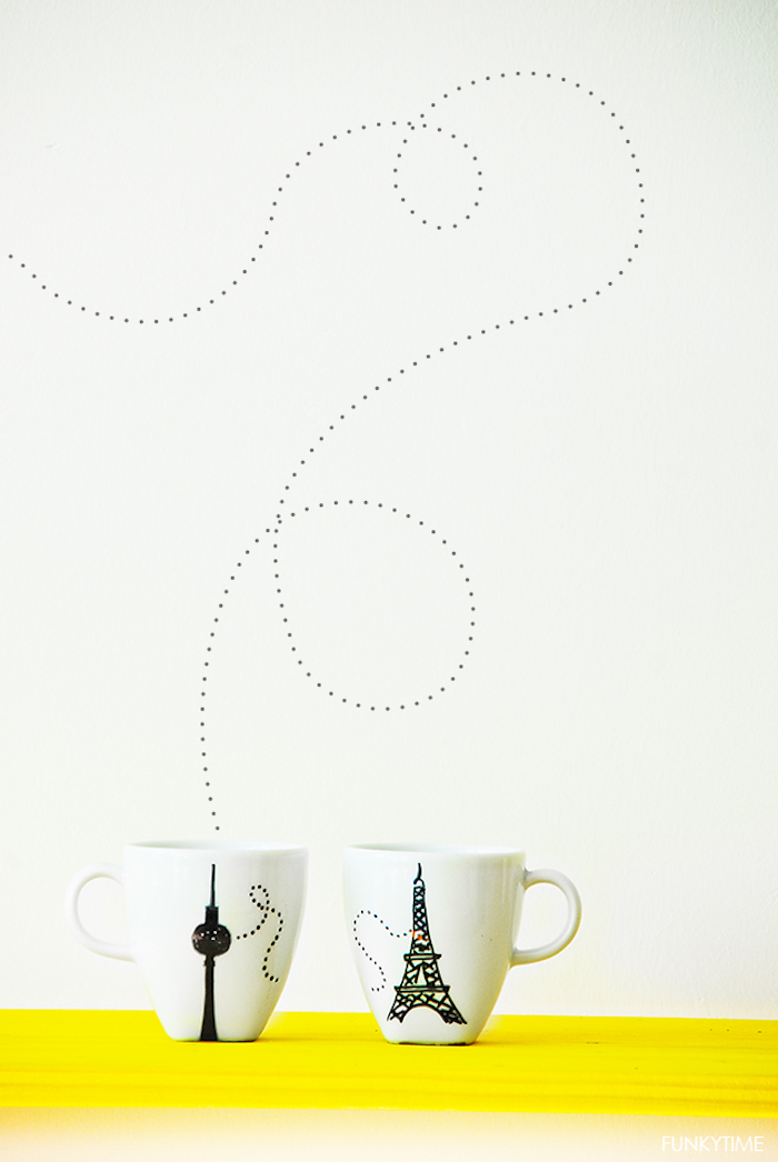 """Tassen für Paare """"Ich vermisse dich"""", Motive mit schwarzem Permanentmarker aufzeichnen"""