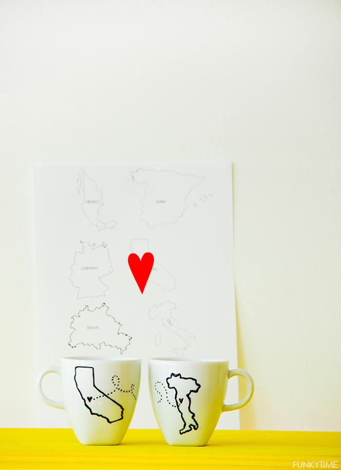 """Tassen für verliebte Paare """"Ich vermisse dich"""", DIY Idee zum Nachmachen"""