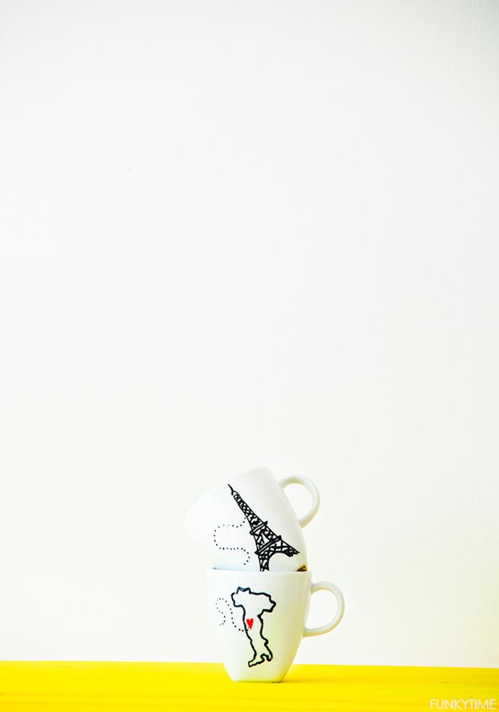 Romantische Motive auf weiße Porzellantassen aufzeichnen, Italien und Frankreich