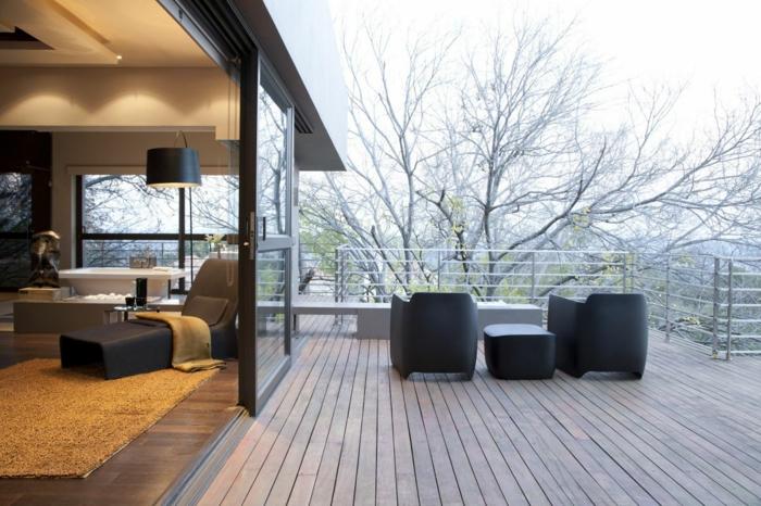 mit einer passenden Überdachung kann man auch im Winter die Terrasse benutzen - Terrassen Gestaltungsmöglichkeiten