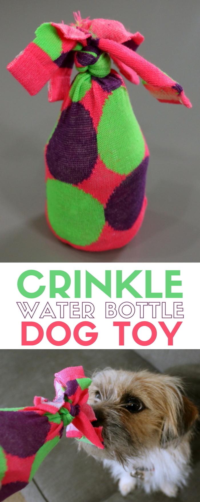 tierspielzeug basteln, bastelideen, hundespielzeug aus buntem stoff und flasche
