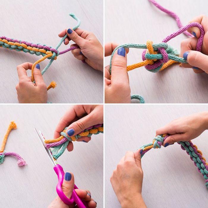 tierspielzeug basteln, kauspielzeug aus seilen in verschiedenen farben selber machen