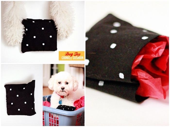 tierspielzeug basteln, kleiner weißer hund, spielzeug aus schwarzem stoff nähen