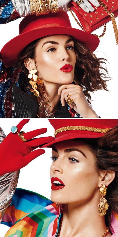 Lippenstift rot in verschiedenen variationen, nuancen, farbenfrohe bilder, roter hut, goldene ohrringe