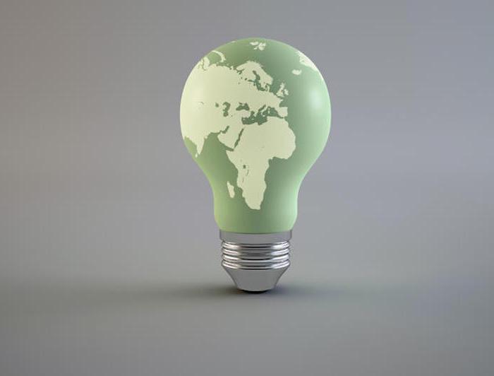umweltfreundliche Lampe, grüne Glühbirne, auf der die Erde gemalt wird, schöne idee, energie sparen