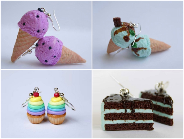 kleine ohrringe mit kleinen fimi figuren mit einem violetten eis und einer braunen torte, regenbogenfarbene kuchen aus fimo, fimo schmuck