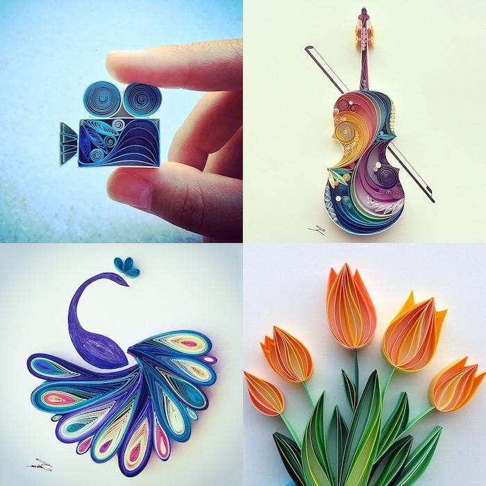 eine bunte quilling geige, eine kleine bunte blaue quilling kamera, ein violetter vogel mit blauen, pinken und violetten federn aus papierstreifen, fünf orange blumen aus papierstreifen und mit grünen blättern