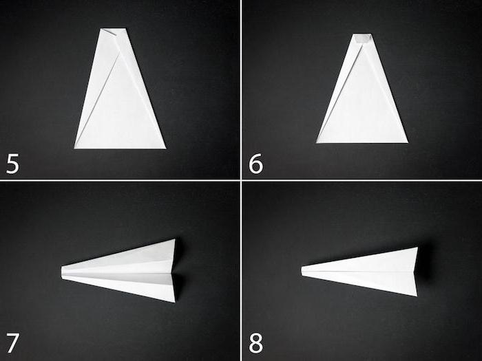eine schritt für schritt diy anleitung papierflieger, einen kleinen weißen papierflieger selber bauen, anleitung papierflieger in vier schritten