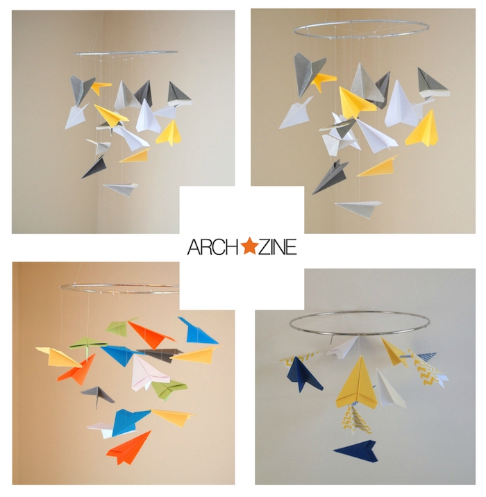 vier baby-mobiles mit kleinen weißen, blauen, orangen, gelben, grünen papierfliegern, bastelideen mit papier