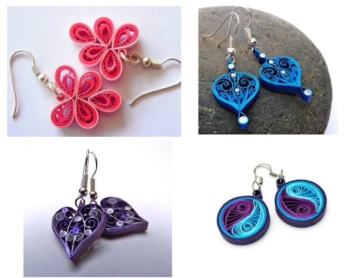zwei pinke quilling ohrringe mit pinken blumen, basteln für erwachsene, ohrringe mit zwei violetten herzen, ohrringe mit blauen papierstreifen