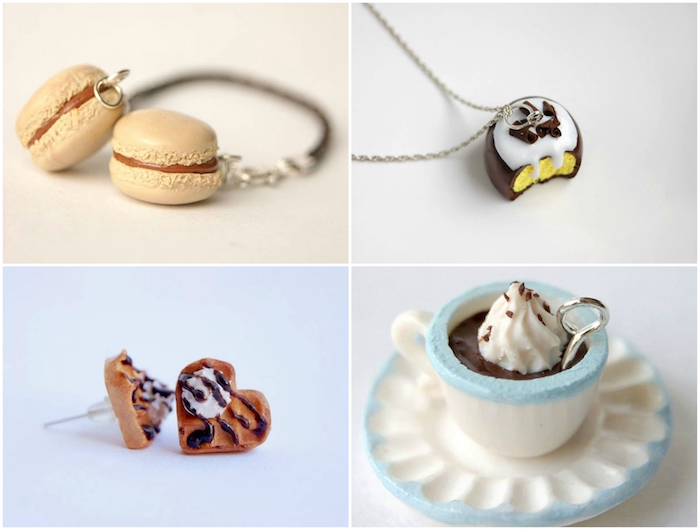 vier bilder mit fimo schmuck, fimo ideen für anfänger, eine weiße tasse mit sahne aus einer weißen fimo knete, eine kette mit kuchen aus fimo, fimo ideen anleitung