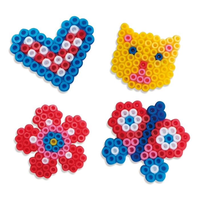 vier einfache Bügelperlen Schablonen für Anfänger, Katze, Herz, Blume, Schmetterling