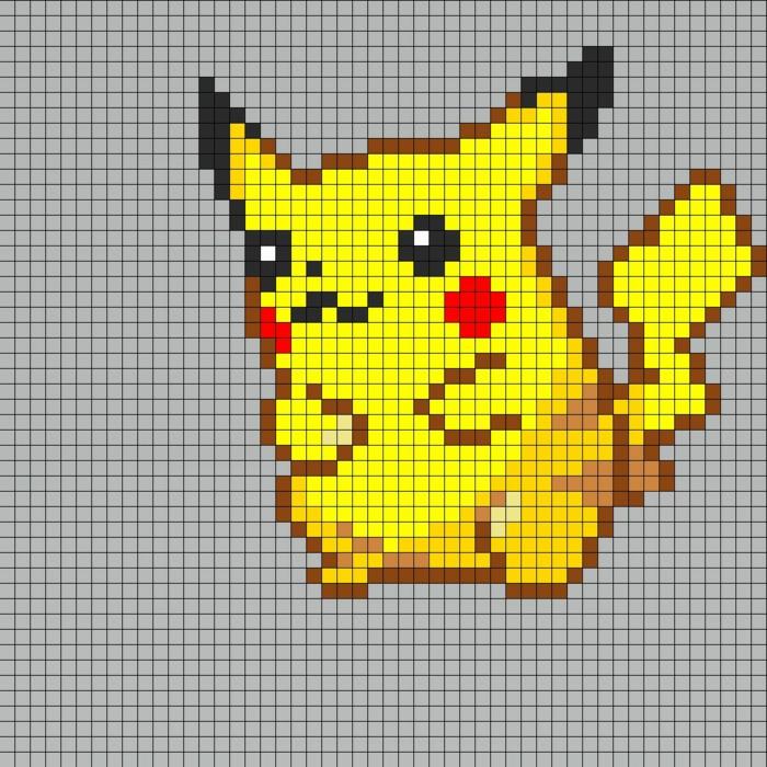 eine Schablone, wie Sie Pickachu selber erstellen können, gelbe Steckperlen