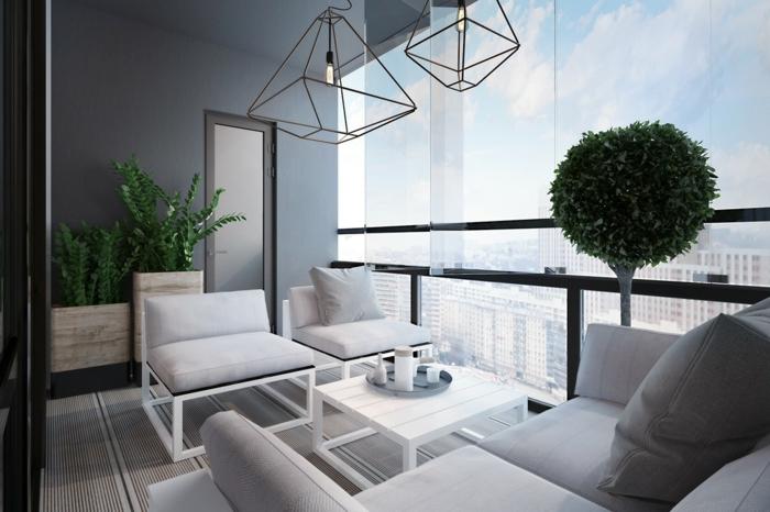 eine weiße Gestaltung von einer Terrasse, Bonsei Baum und moderne Kronleuchten, Terrasse planen