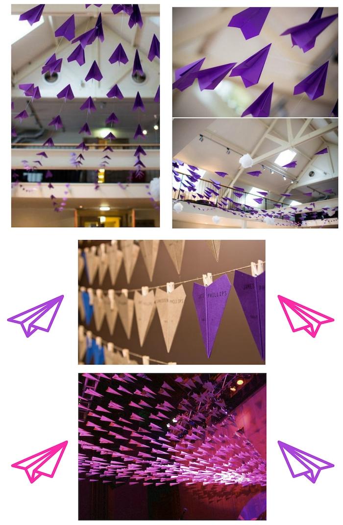 zimmer mit weißen wänden und lampen und dekoration mit vielen violetten und weißen papierfliegern, einen violetten papierflieger selber bauen, fliegende pinke papierflieger