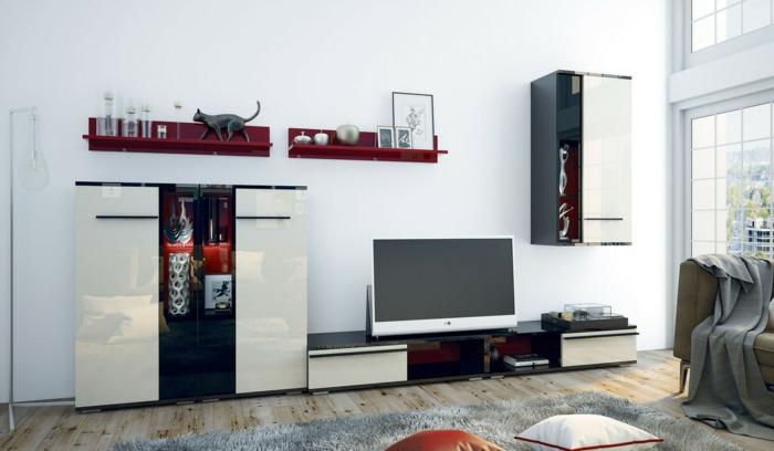 zwei Regale, ein Schrank, Wohnzimmer Fernsehwand selber zusammenstellen, grauer Teppich