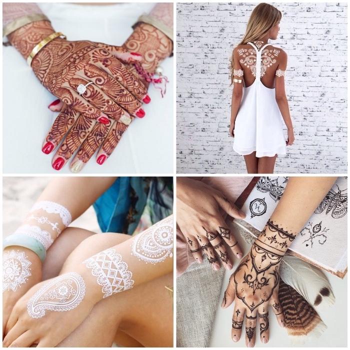 weißes henna, traditionelle indische tattoos mit rotem henna an den händen, weißes sommerkleid