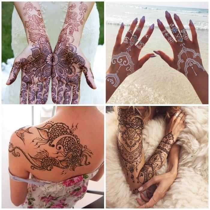 weißes henna, tätowierung an dem ganzen arm, temporäre tätowierungen mit henna