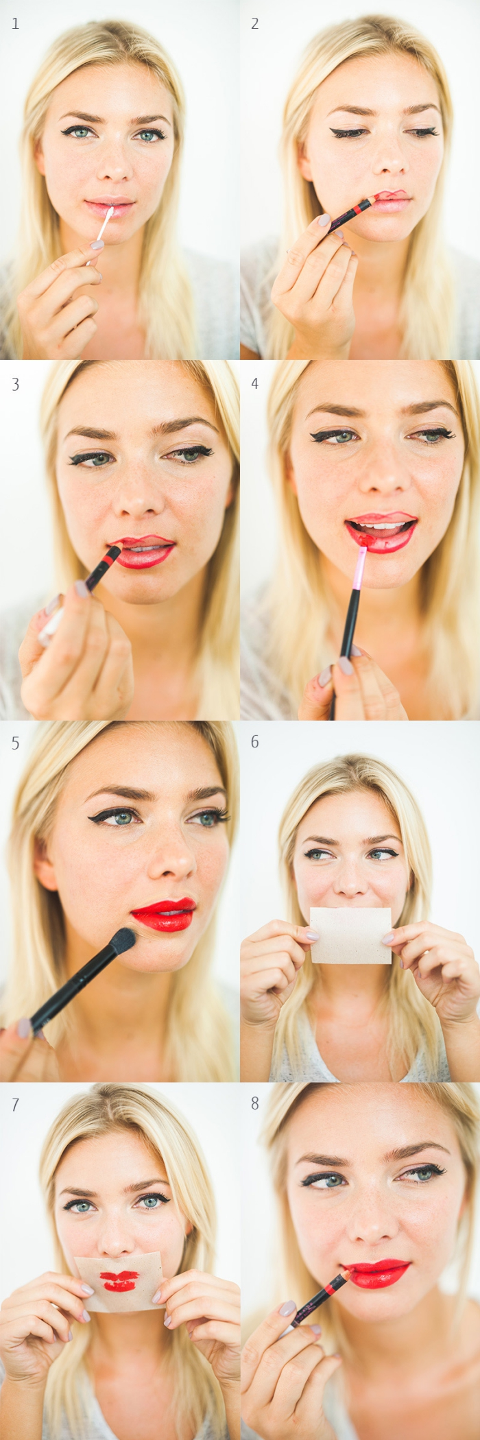 kussechter lippenstift selber schminken rote lippen langfristige farbe auf den lippen blonde dame rote lippenschminke