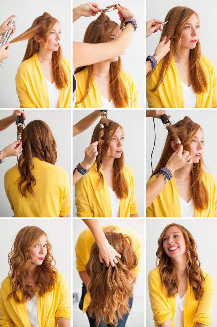 haare stylen lassen, mit dem pony anfangen, große locken, frau mit roten haaren, gelbe bluse, lockige haare