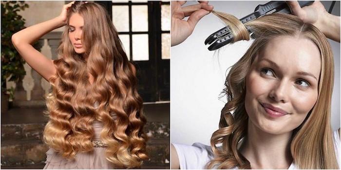 haare stylen und lockig gestalten mithilfe vom lockenstab oder glätteisen, zwei damen, helle haarfarbe