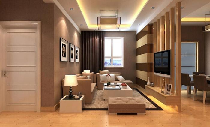 kleines Wohnzimmer mit beigen Möbeln, hölzerer Raumteiler Trennwand
