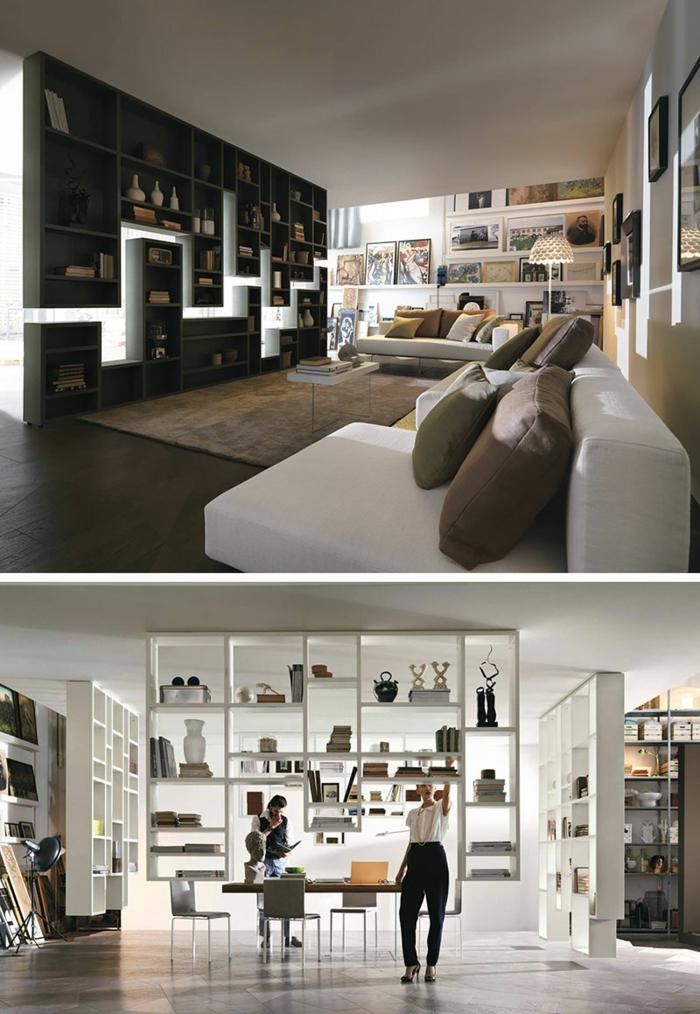 zwei Ideen für Raumteiler Trennwand in schwarzer und weißer Farbe