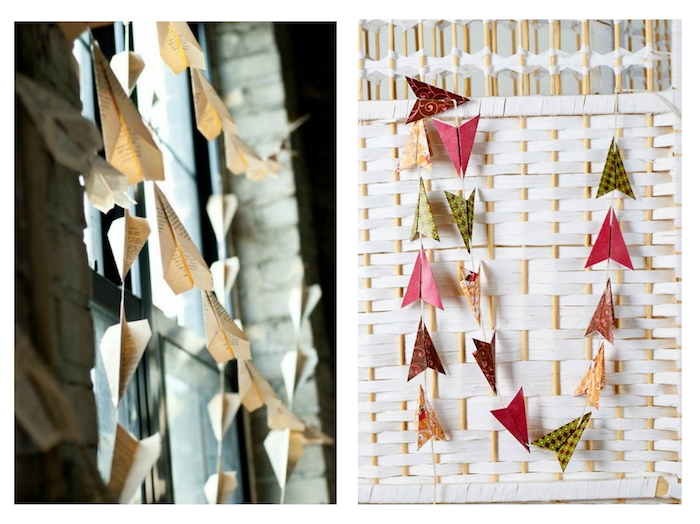 ein fenster mit dekoration mit vielen gelben papierfliegern, papierflieger falten, eine wand mit roten, gelben und grünen papierfliegern