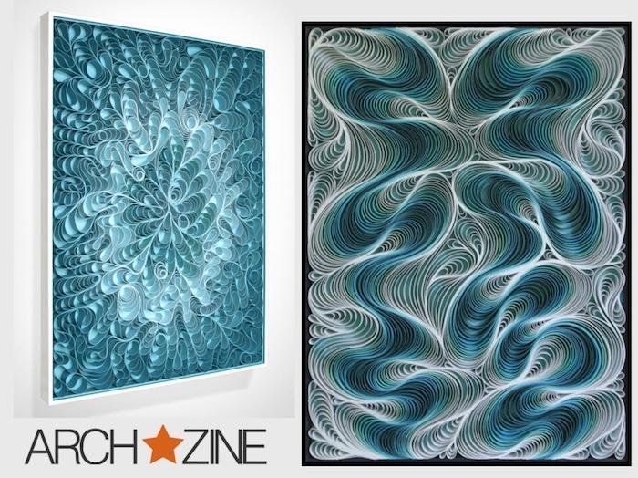 eine weiße wand mit zwei blauen quilling bildern mit vielen langen weißen und blauen quilling papierstreifen, bastelideen für erwachsene
