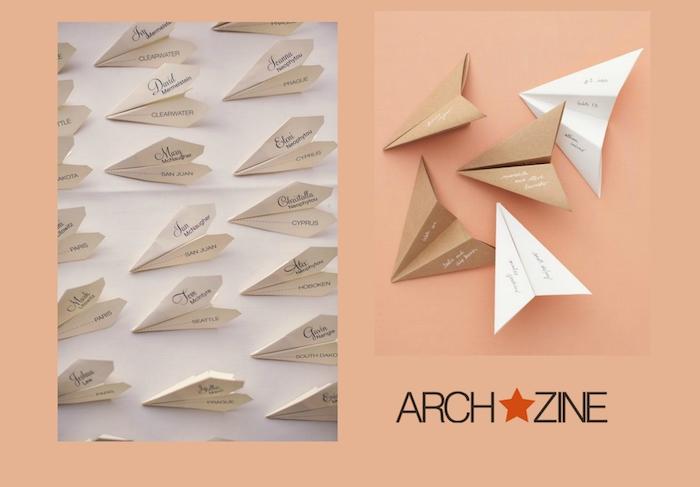 kleine weiße und braune papierflieger, bastelideen mit papier, deko mit papierfliegern