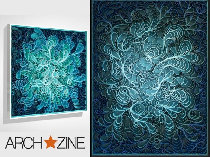 eine weiße wand mit zwei großen blauen bildern mit vielen langen blauen und weißen quilling papierstreifen, basteln mit papierstreifen, quilling bilder