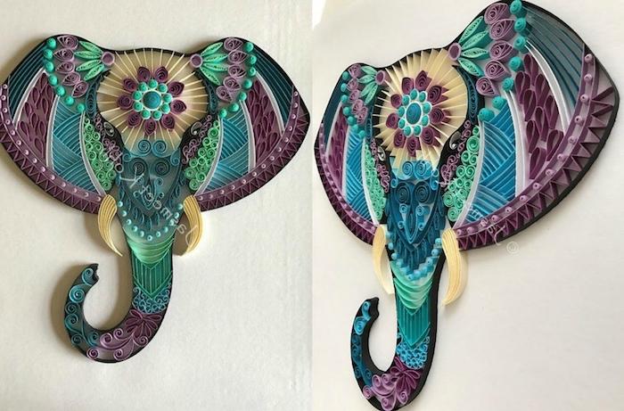 zwei quilling elefanten mit papierstereifen, bastelideen für erwachsene, elefant aus langen violetten, grünen und blauen quilling papierstreifen