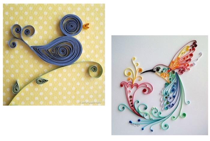basteln zu ostern, zwei kleine fliegende quilling vögel aus violetten, roten, orangen, gelben und grünen quilling papierstreifen