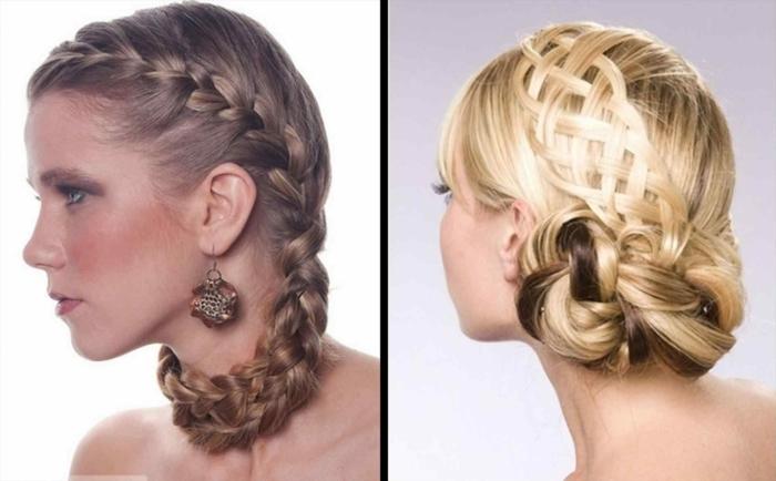 blonde Haare, zwei Arten von Zöpfe, Flechtfrisuren lange Haare für Bräute