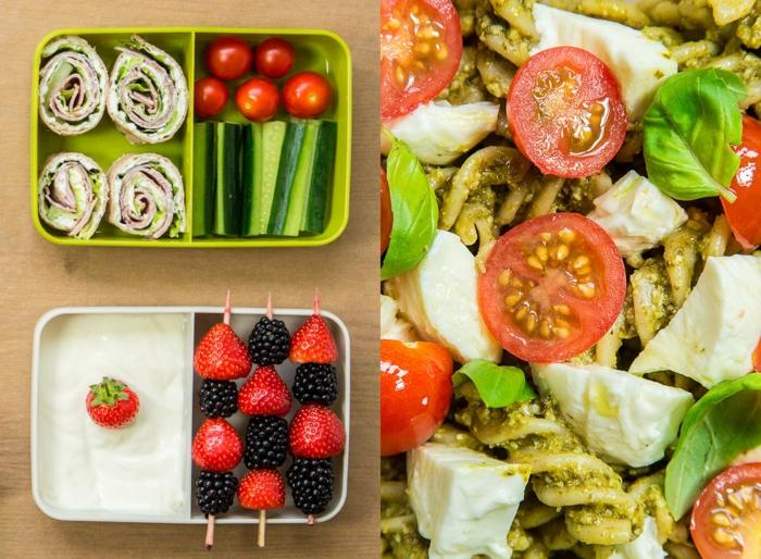 abnehmen leicht gemacht obst und gemüse in kasten gesundes essen zum mitnehmen pasta mit tomaten und mozarella