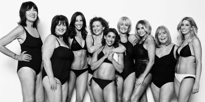 ernährungsplan zum abnehmen viele frauen machen sich zusammen ein schwarz weißes foto, bikini tragen, verschiedene größen. selbstliebe, body positivity