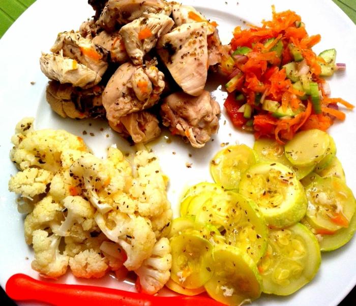 ernährungsplan zum abnehmen ausgewogene ernährung tipps und ideen für rezepte fleisch mit blumenkohl und zucchini