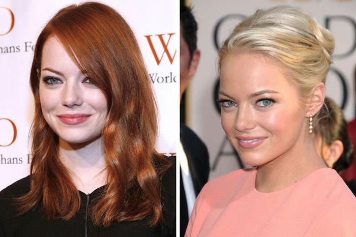 ema stone, aschblonde haare, rote haare blondieren, hochsteckfrisur, rosa abendkleid, grüne augen schminken