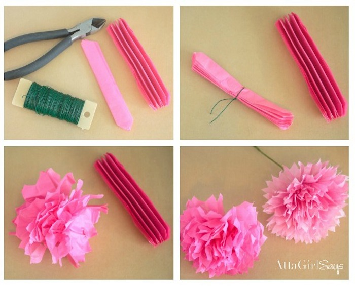 Blumen aus Papier selber basteln, Anleitung in vier Schritten, Blüten aus rosa Krepppapier