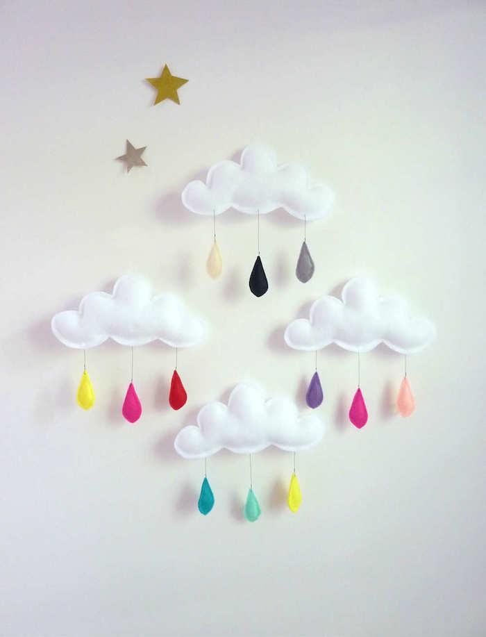 DIY Wanddeko für Babyzimmer, weiße Wolken und bunte Regentropfen selber nähen