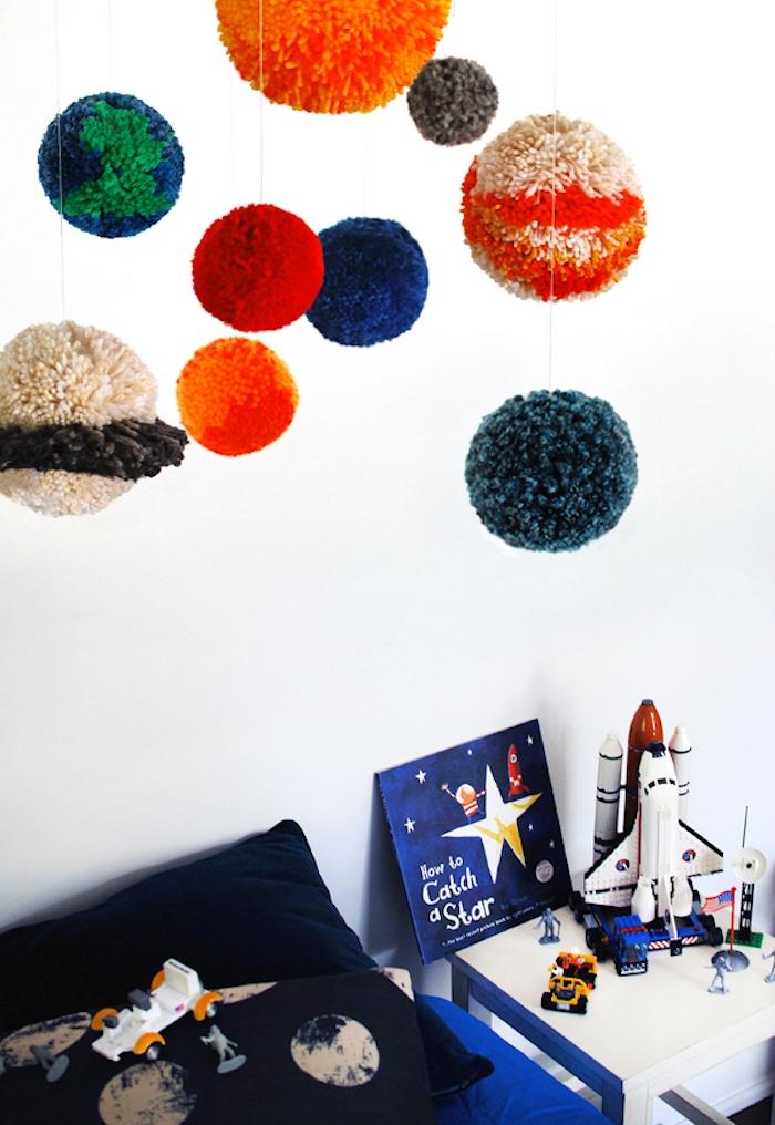 Planeten-Mobile selber machen für Babyzimmer, mit Pom-Pom Maker, DIY Idee mit Anleitung