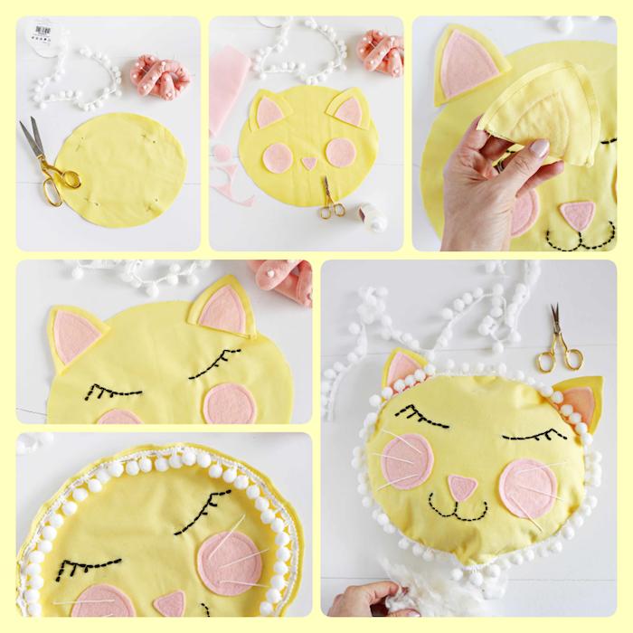 Süße Babyzimmer Deko selber machen, gelbes Kissen in Form von Katze nähen Schritt für Schritt