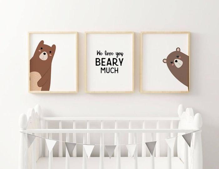 Babyzimmer Deko Ideen, süße Bilder mit Bären, love you beary much, weißes Babybett mit Girlande